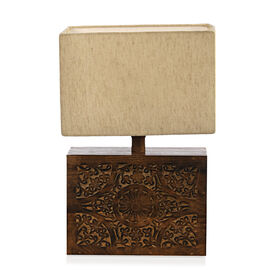 NAKKASHI - Solid Wood Hand Carved Floral Table Lamp in Antique Burn Wax Finish (Lamp Shade Included)