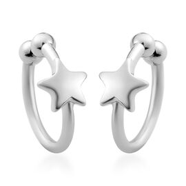 Sundays Child - Platinum Overlay Sterling Silver Star Clip Earrings