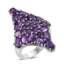 Lusaka Amethyst (Ovl) Cluster Ring in Platinum Overlay Sterling Silver 8.500 Ct. Silver wt 6.46 Gms.