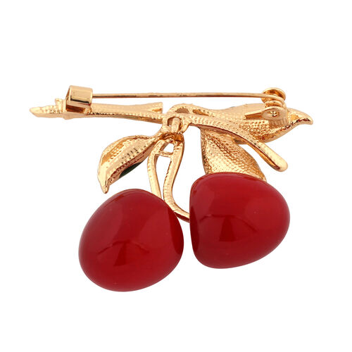 Simulated Ruby Enamelled Cherry Brooch