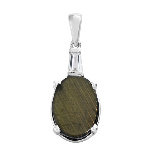 Natural Spectrolite (Ovl 2.50 Ct), White Topaz Pendant in Platinum Overlay Sterling Silver 2.750 Ct.