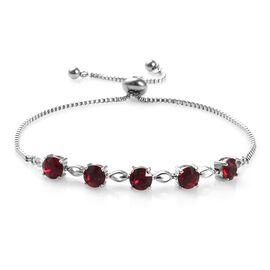 Ruby Colour Crystal from Swarovski Friendship Adjustable Bracelet in Brass 9.5 Inch