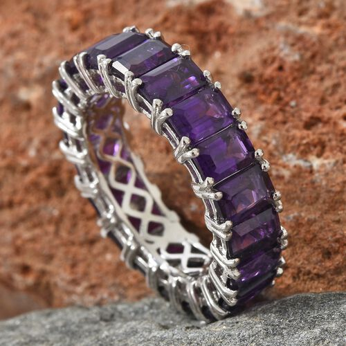 Lusaka Amethyst (Oct) Full Eternity Band Ring in Platinum Overlay Sterling Silver 9.000 Ct.