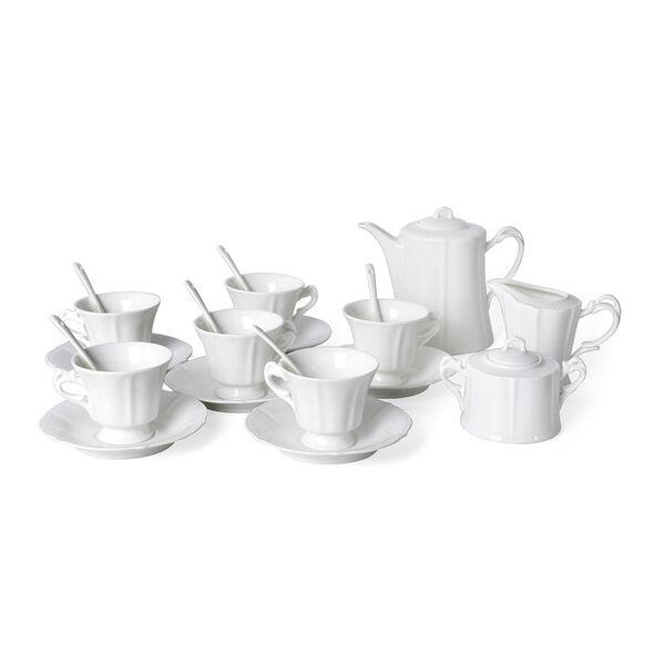 22 Piece Set - Embossed Tea Set (Consists of 6 Cups, 6 Saucers, 7 Spoons, 1 Sugar Jar, 1 Milk Jar, 1