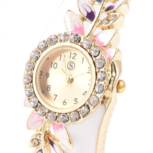 STRADA Japanese Movement White Austrian Crystal Studded Water Resistant Enamelled Leaf Pattern Bangle Watch (Size 6.5) in Gold Tone