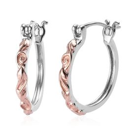 Hoop Earrings in Rose Gold and Platinum Plated Sterling Silver