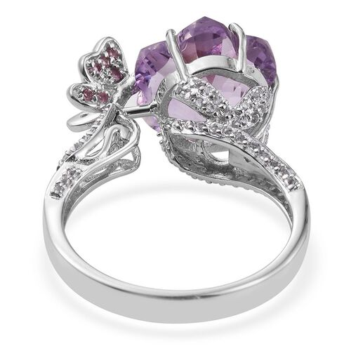 GP Rose De France Amethyst, Kanchanaburi Blue Sapphire, Pink Tourmaline and White Topaz Ring in Platinum Overlay Sterling Silver 10.000 Ct.