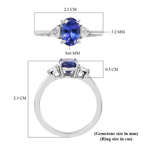 RHAPSODY 950 Platinum AAAA Tanzanite and Diamond (VS1) Ring 1.55 Ct.
