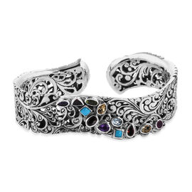 Bali Legacy 5.05 Ct Sleeping Beauty Turquoise and Multi Gemstone Cuff Bangle in Silver 8 Inch