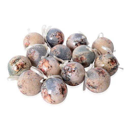Set of 14 Home Decor Christmas Decoration Baubles and Milky Ribbon (Size 7.5 Cm) Multi Colour - Children