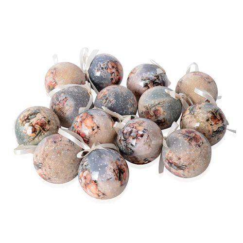 Set of 14 Home Decor Christmas Decoration Baubles and Milky Ribbon (Size 7.5 Cm) Multi Colour - Chil