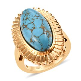Blue Mojave Turquoise (Ovl 20x10 mm) Ring in 18K Yellow Gold Plated 8.500 Ct.