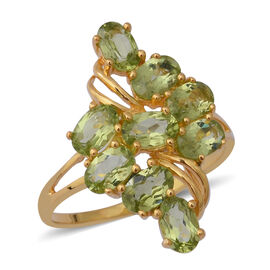 4.32 Ct Hebei Peridot Cluster Ring in Gold Plated Sterling Silver