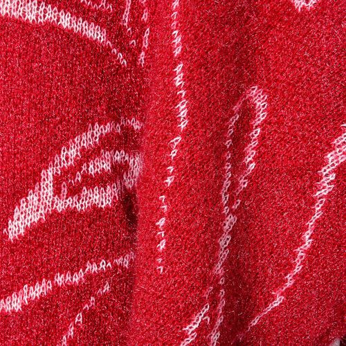 One Time Deal-Red and White Colour Abstract Stripes Pattern Knitted Poncho (Size 142X90 Cm)