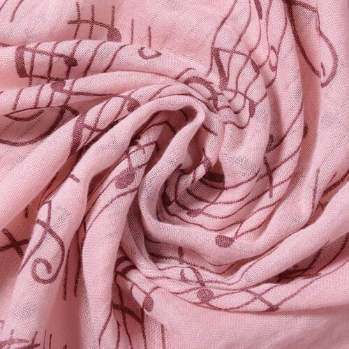 Pink and Plum Colour Musical Note Pattern Scarf (Size 178x100 Cm)