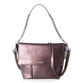 Sencillez 100% Genuine Leather Bronze Colour Shoulder Bag with External Zipper Pocket and Removable