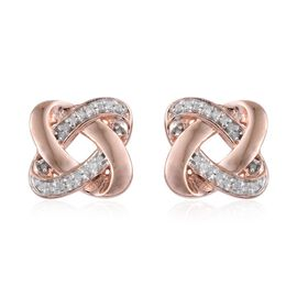 0.15 Carat Diamond Knot Stud Earrings in Rose Gold Overlay Sterling Silver