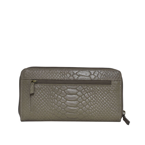 Assots London HAZEL Python Embossed Genuine Leather RFID Zip Around Purse (Size 20x2x10 Cm) - Olive Green