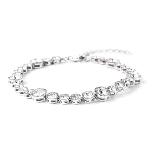 J Francis - Crystal from Swarovski White Crystal (Rnd) Bracelet (Size 6.5 with 2 inch Extender) in Rhodium Overlay Sterling Silver