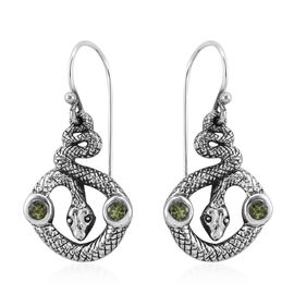 Bali Legacy Collection Hebei Peridot (Rnd) Serpent Hook Earrings in Sterling Silver 0.520 Ct, Silver