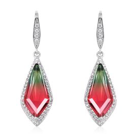 Simulated Watermelon Tourmaline, Simulated Diamond Hook Earrings in Silver Tone