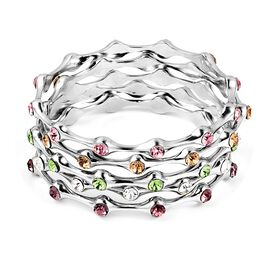 Set of 5 - Multi Colour Austrian Crystal (Rnd) Bangles (Size 8) in Silver Tone