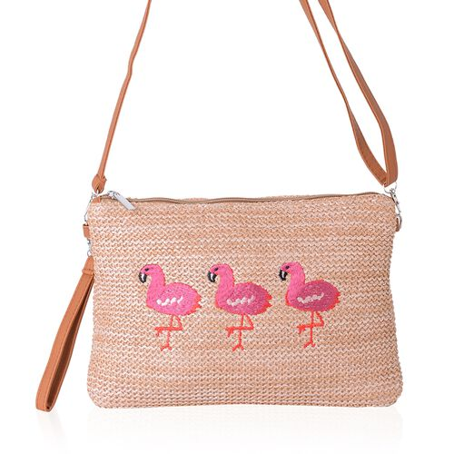 Light Coffee, Pink and Orange Colour Flamingo Pattern Crossbody Bag (Size 29x20x14.5 Cm)