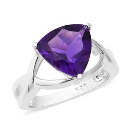 Zambian Amethyst (Trl 10 mm) Solitaire Ring in Sterling Silver 2.85 Ct.