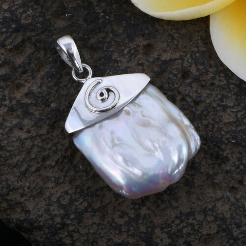 Royal Bali Collection Rare Size Fresh Water Organic Pearl Pendant in Sterling Silver