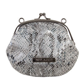 Bulaggi Collection - Jade Snake Print Coin Purse with Shoulder Chain (Size 13x11x01 Cm) - Black, Whi