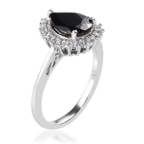 Elite Shungite and Natural Cambodian Zircon Ring in Platinum Overlay Sterling Silver 1.04 Ct.