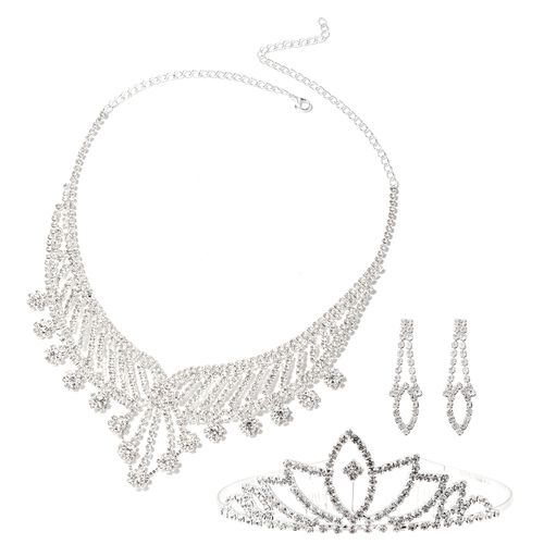 3 Piece Set - White Austrian Crystal (Rnd) Necklace (Size 16 with 7 inch Extender), Tiara and Earrin