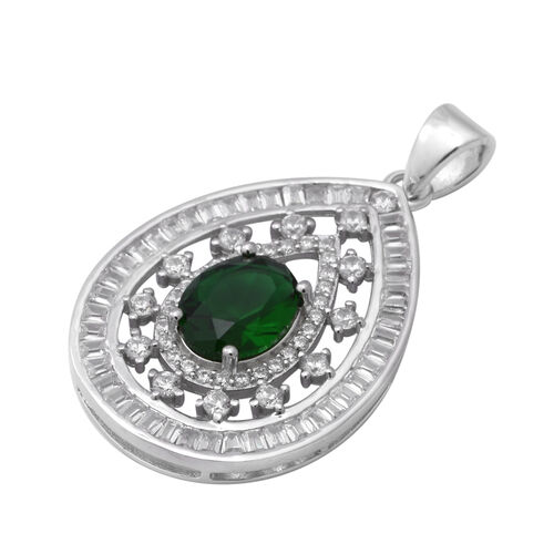 ELANZA Simulated Diopside (Ovl), Simulated Diamond Pendant in Rhodium Overlay Sterling Silver, Silver wt 4.70 Gms