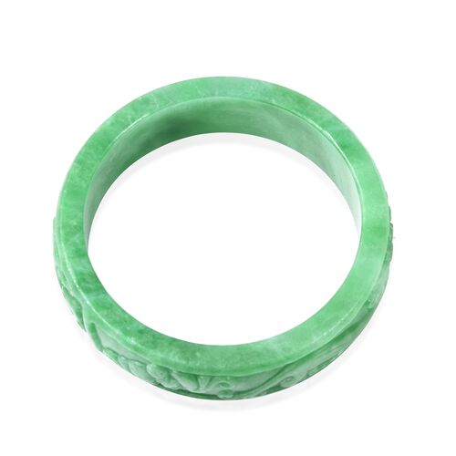Extremely Rare-Green Jade Carved Bangle (Size 7.5)  384.00 Ct.