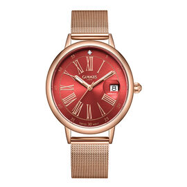 GAMAGES OF LONDON Ladies Sophisticated Swiss Movement Diamond Studded Watch in Rose Red