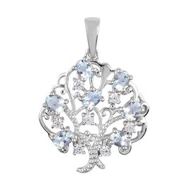 Aquamarine and Natural Cambodian Zircon Tree Pendant in Platinum Overlay Sterling Silver 1.30 Ct.