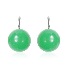 Burmese Green Jade Bead Hook Earrings in Silver Tone 41.00 Ct.