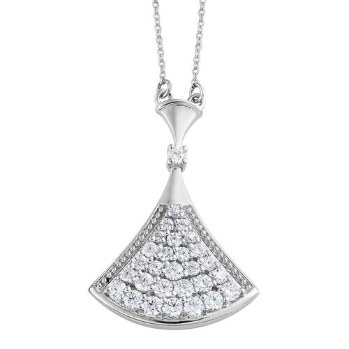 J Francis Made with SWAROVSKI ZIRCONIA Cluster Pendant With Chain in Silver