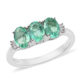 RHAPSODY 950 Platinum AAAA Colombian Emerald (Ovl 6x4mm) and Diamond (VS/E-F) Ring 1.35 Ct, Platinum