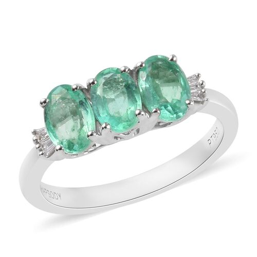 RHAPSODY 1.35 Ct AAAA Colombian Emerald and Diamond Trilogy Ring in 950 Platinum 5 Grams VS EF