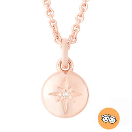 RACHEL GALLEY Diamond Kids Star Pendant with Chain (Size 16) in Rose Gold Overlay Sterling Silver 0.