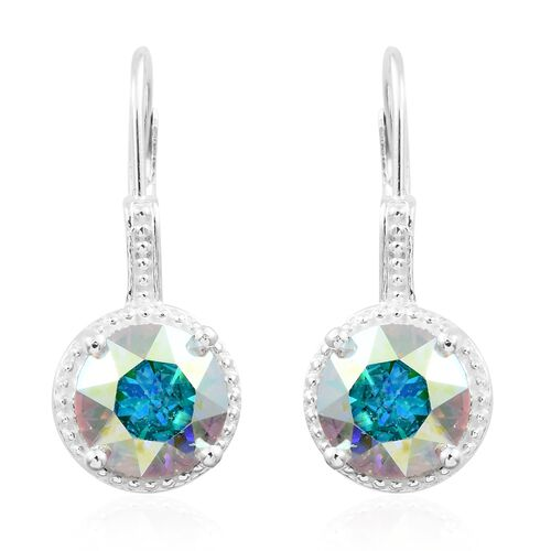 J Francis Crystal from Swarovski - Aurore Boreale Crystal (Rnd 8MM) Lever Back Earrings in Sterling Silver