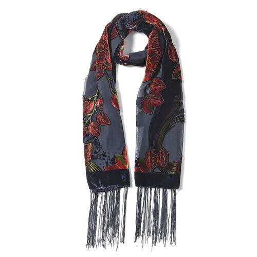 Designer Inspired- Black, Red Rose and Green Colour Rose Pattern Scarf with Tassels (Size 155x50 Cm)