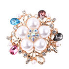 Multi Colour Austrian Crystal and Simulated Multi Colour Gemstone Floral Brooch in Gold Tone