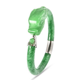 Green Jade Dragon Bangle (Size 7.5) in Rhodium Overlay Sterling Silver 211.25 Ct,