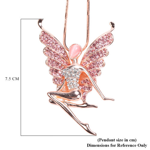 Simulated Pink Cats Eye, Pink & White Austrian Crystal Fairy Pendant With Chain in Rose Gold Tone
