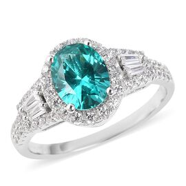 ELANZA Simulated Colombian Emerald and Simulated Diamond Halo Ring in Rhodium Plated Silver