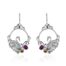 GP 2.25 Ct Ethiopian Opal and Multi Gemstones Earrings in Sterling Silver 13.5 Gms With Lever Back