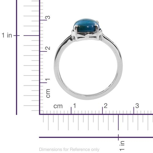 Natural Rare Opalina (Ovl 2.15 Ct), Blue Diamond Ring in Platinum Overlay Sterling Silver 2.250 Ct.