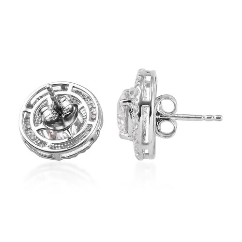 J Francis - Platinum Overlay Sterling Silver (Round) Stud Earrings (with Push Back) Made with SWAROVSKI ZIRCONIA 6.44 Ct.